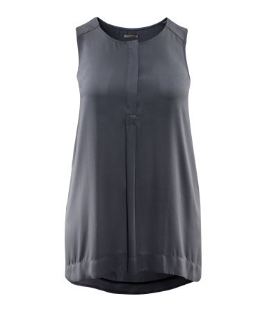 + Tunic - neckline: round neck; pattern: plain; sleeve style: sleeveless; length: below the bottom; style: tunic; predominant colour: mid grey; occasions: casual; fibres: polyester/polyamide - 100%; fit: body skimming; sleeve length: sleeveless; texture group: sheer fabrics/chiffon/organza etc.; pattern type: fabric; season: s/s 2013