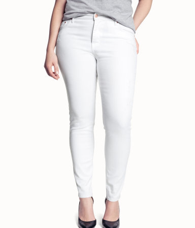 + Jeans - style: skinny leg; length: standard; pattern: plain; pocket detail: traditional 5 pocket; waist: mid/regular rise; predominant colour: white; occasions: casual, holiday; fibres: cotton - stretch; texture group: denim; pattern type: fabric; season: s/s 2013; pattern size: standard (bottom)