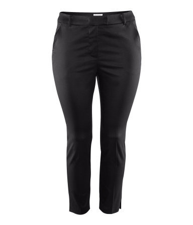 + Ankle Lengthtrousers - pattern: plain; pocket detail: pockets at the sides; waist: mid/regular rise; predominant colour: black; occasions: casual, work; length: ankle length; fibres: cotton - mix; waist detail: narrow waistband; texture group: structured shiny - satin/tafetta/silk etc.; fit: slim leg; pattern type: fabric; style: standard; season: s/s 2013