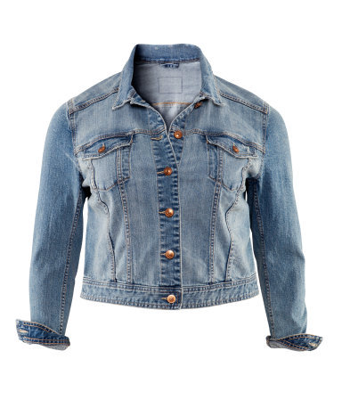 + Denim Jacket - pattern: plain; style: denim; predominant colour: denim; occasions: casual; length: standard; fit: tailored/fitted; fibres: cotton - mix; collar: shirt collar/peter pan/zip with opening; sleeve length: 3/4 length; sleeve style: standard; texture group: denim; collar break: high/illusion of break when open; pattern type: fabric; season: s/s 2013