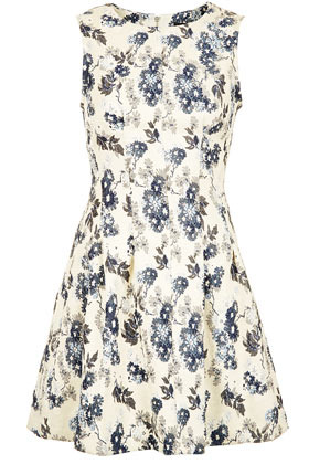 Floral Jaquard Seam Dress - length: mid thigh; neckline: round neck; sleeve style: sleeveless; waist detail: fitted waist; predominant colour: ivory/cream; occasions: casual, holiday; fit: fitted at waist & bust; style: fit & flare; fibres: polyester/polyamide - stretch; sleeve length: sleeveless; texture group: cotton feel fabrics; pattern type: fabric; pattern size: standard; pattern: florals; season: s/s 2013