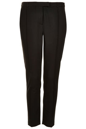Stitch Seam Cigarette Trousers - pattern: plain; waist: mid/regular rise; predominant colour: black; occasions: casual, work; length: ankle length; fibres: polyester/polyamide - mix; waist detail: narrow waistband; fit: slim leg; pattern type: fabric; texture group: woven light midweight; style: standard; season: s/s 2013