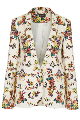 Pixel Floral Blazer - style: single breasted blazer; collar: standard lapel/rever collar; occasions: casual, work; length: standard; fit: tailored/fitted; fibres: cotton - mix; predominant colour: multicoloured; sleeve length: long sleeve; sleeve style: standard; texture group: cotton feel fabrics; collar break: low/open; pattern type: fabric; pattern size: standard; pattern: florals; season: s/s 2013; multicoloured: multicoloured
