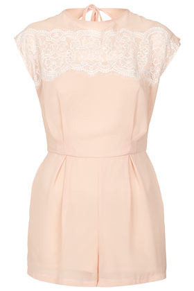 **Eyelash Lace Playsuit Love - fit: fitted at waist; sleeve style: sleeveless; waist detail: fitted waist; length: short shorts; predominant colour: blush; occasions: casual, evening, holiday; fibres: polyester/polyamide - 100%; neckline: crew; hip detail: sculpting darts/pleats/seams at hip; bust detail: contrast pattern/fabric/detail at bust; sleeve length: sleeveless; texture group: lace; style: playsuit; pattern type: fabric; pattern size: standard; pattern: patterned/print; season: s/s 2013