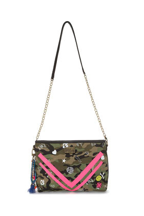 **Keira Bag Paul's Boutique - predominant colour: khaki; occasions: casual; type of pattern: large; style: shoulder; length: across body/long; size: small; material: faux leather; embellishment: tassels; finish: plain; pattern: patterned/print; season: s/s 2013