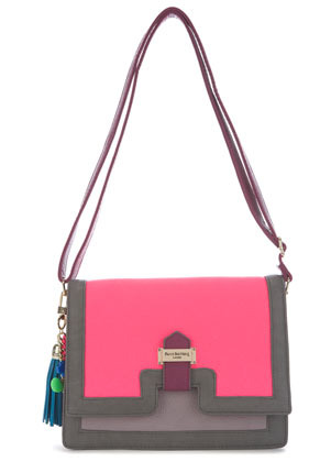 **Zoe Bag Paul's Boutique - predominant colour: hot pink; occasions: casual, creative work; type of pattern: light; style: shoulder; length: shoulder (tucks under arm); size: standard; material: faux leather; embellishment: tassels; finish: plain; pattern: colourblock; season: s/s 2013