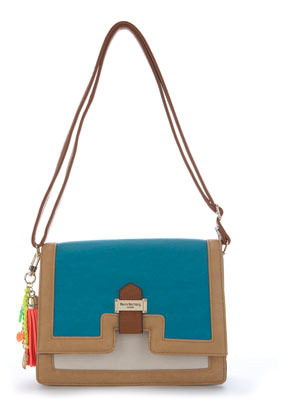 **Zoe Bag Paul's Boutique - predominant colour: turquoise; occasions: casual; type of pattern: light; style: shoulder; length: shoulder (tucks under arm); size: standard; material: faux leather; embellishment: tassels; finish: plain; pattern: colourblock; season: s/s 2013