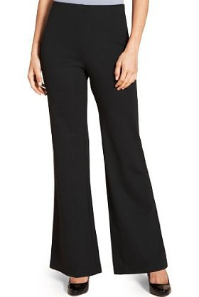 M&S Collection Bootleg Jersey Trousers - length: standard; pattern: plain; waist: mid/regular rise; predominant colour: black; occasions: casual, work; fibres: polyester/polyamide - stretch; fit: bootcut; pattern type: fabric; texture group: other - light to midweight; style: standard; season: s/s 2013; pattern size: standard (bottom)