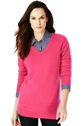 M&S Collection Pure Cashmere V Neck Plain Jumper - neckline: v-neck; pattern: plain; length: below the bottom; style: standard; predominant colour: hot pink; occasions: casual, work; fit: standard fit; fibres: cashmere - 100%; sleeve length: long sleeve; sleeve style: standard; texture group: knits/crochet; pattern type: knitted - fine stitch; pattern size: standard; season: s/s 2013