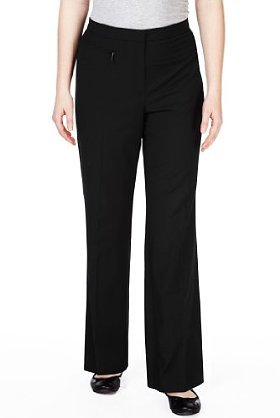 Plus Flat Front 1 Zip Pocket Straight Leg Trousers - length: standard; pattern: plain; waist: mid/regular rise; predominant colour: black; occasions: casual, evening, work; fibres: polyester/polyamide - stretch; fit: straight leg; pattern type: fabric; texture group: other - light to midweight; style: standard; season: s/s 2013; pattern size: standard (bottom)