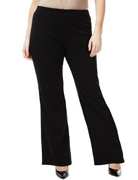 Plus Flat Front Bootleg Jersey Ponte Trousers - length: standard; pattern: plain; waist: mid/regular rise; predominant colour: black; occasions: evening, work; fibres: polyester/polyamide - stretch; fit: bootcut; pattern type: fabric; texture group: jersey - stretchy/drapey; style: standard; season: s/s 2013
