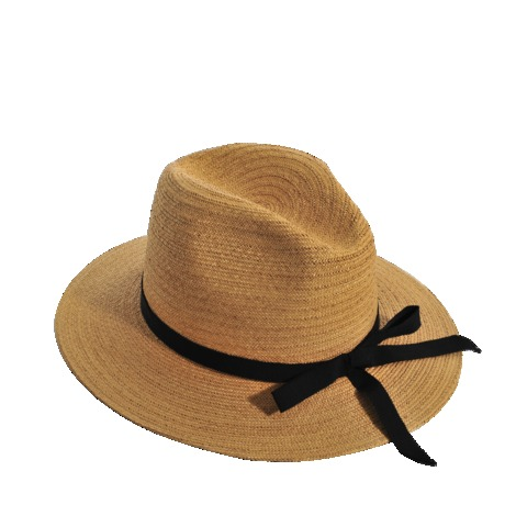 Large Hat - predominant colour: camel; secondary colour: black; occasions: casual, holiday; type of pattern: standard; embellishment: ribbon; style: sunhat; size: standard; material: macrame/raffia/straw; pattern: plain; season: s/s 2013