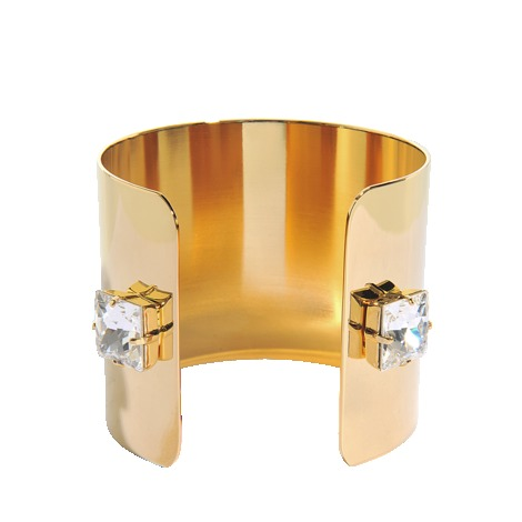 Metal And Crystals Cuff - predominant colour: gold; occasions: evening, occasion; style: cuff; size: large/oversized; material: chain/metal; finish: plain; embellishment: crystals/glass; season: s/s 2013