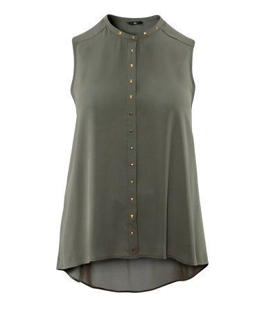 + Blouse - pattern: plain; sleeve style: sleeveless; neckline: high neck; style: blouse; predominant colour: khaki; occasions: casual, evening; length: standard; fibres: polyester/polyamide - 100%; fit: loose; back detail: longer hem at back than at front; sleeve length: sleeveless; texture group: crepes; pattern type: fabric; embellishment: studs; season: s/s 2013