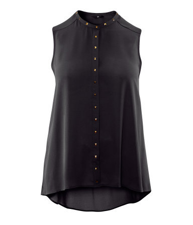 + Blouse - pattern: plain; sleeve style: sleeveless; neckline: high neck; style: blouse; predominant colour: black; occasions: evening; length: standard; fibres: polyester/polyamide - 100%; fit: loose; back detail: longer hem at back than at front; sleeve length: sleeveless; texture group: sheer fabrics/chiffon/organza etc.; pattern type: fabric; embellishment: studs; season: s/s 2013
