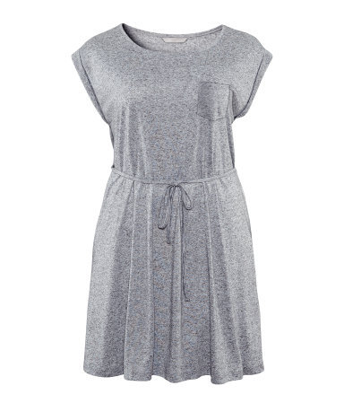 + Dress - style: t-shirt; neckline: round neck; fit: loose; pattern: plain; waist detail: belted waist/tie at waist/drawstring; predominant colour: mid grey; occasions: casual; length: just above the knee; fibres: cotton - 100%; sleeve length: short sleeve; sleeve style: standard; pattern type: fabric; texture group: jersey - stretchy/drapey; season: s/s 2013