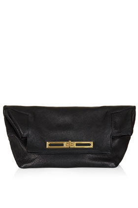 Fold Top Clutch - predominant colour: black; occasions: evening; style: clutch; length: handle; size: small; material: leather; pattern: plain; finish: plain; season: s/s 2013