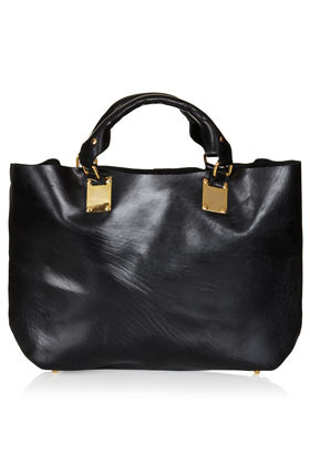 Plated Leather Tote - predominant colour: black; occasions: work; style: tote; length: handle; material: leather; pattern: plain; finish: plain; season: s/s 2013
