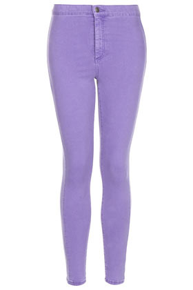 Moto Purple Wash Joni Jean - style: skinny leg; pattern: plain; pocket detail: traditional 5 pocket; waist: mid/regular rise; predominant colour: lilac; occasions: casual; length: ankle length; fibres: cotton - stretch; jeans detail: washed/faded; texture group: denim; pattern type: fabric; season: s/s 2013