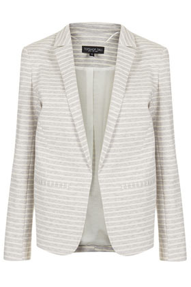 Tall Stripe Ponte Blazer - pattern: horizontal stripes; style: single breasted blazer; shoulder detail: shoulder pads; collar: standard lapel/rever collar; secondary colour: ivory/cream; predominant colour: light grey; occasions: casual, evening, work, occasion, holiday; length: standard; fit: tailored/fitted; fibres: cotton - mix; waist detail: fitted waist; sleeve length: long sleeve; sleeve style: standard; trends: striking stripes; collar break: low/open; pattern type: fabric; pattern size: standard; texture group: jersey - stretchy/drapey; season: s/s 2013