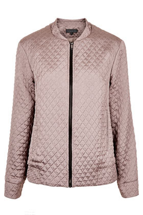 Tall Quilted Bomber Jacket - pattern: plain; bust detail: added detail/embellishment at bust; collar: round collar/collarless; fit: slim fit; style: bomber; predominant colour: taupe; occasions: casual, work, holiday; length: standard; fibres: polyester/polyamide - mix; sleeve length: long sleeve; sleeve style: standard; texture group: structured shiny - satin/tafetta/silk etc.; waist detail: drop waist; collar break: high; pattern type: fabric; embellishment: quilted; season: s/s 2013
