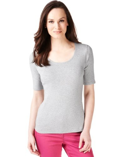 M&S Collection Pure Cotton Scoop Neck Top With Stay New™ - pattern: plain; style: t-shirt; predominant colour: light grey; occasions: casual; length: standard; neckline: scoop; fibres: cotton - 100%; fit: body skimming; sleeve length: half sleeve; sleeve style: standard; pattern type: fabric; texture group: jersey - stretchy/drapey; season: s/s 2013