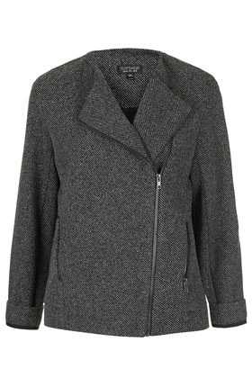 Ponte Biker Jacket - style: biker; collar: asymmetric biker; pattern: herringbone/tweed; secondary colour: white; predominant colour: black; occasions: casual; length: standard; fit: straight cut (boxy); fibres: polyester/polyamide - mix; sleeve length: 3/4 length; sleeve style: standard; collar break: high/illusion of break when open; pattern type: fabric; pattern size: standard; texture group: jersey - stretchy/drapey; season: s/s 2013