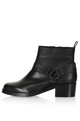 Alliance Harness Boots - predominant colour: black; occasions: casual, creative work; material: leather; heel height: mid; embellishment: studs; heel: block; toe: round toe; boot length: ankle boot; style: standard; finish: plain; pattern: plain; season: s/s 2013