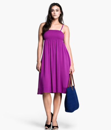 + Dress - sleeve style: spaghetti straps; fit: empire; pattern: plain; style: sundress; predominant colour: purple; length: on the knee; fibres: viscose/rayon - 100%; hip detail: soft pleats at hip/draping at hip/flared at hip; sleeve length: sleeveless; occasions: holiday; neckline: low square neck; pattern type: fabric; texture group: jersey - stretchy/drapey; season: s/s 2013