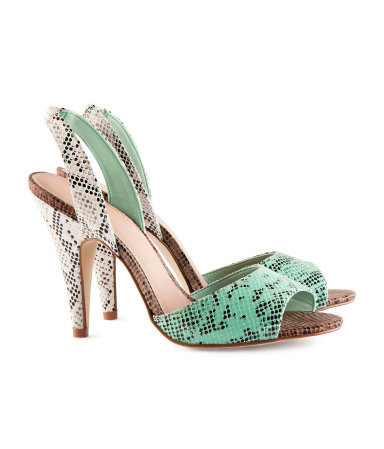 Slingbacks - secondary colour: white; predominant colour: mint green; occasions: evening, occasion; material: faux leather; heel height: high; heel: stiletto; toe: open toe/peeptoe; style: slingbacks; finish: plain; pattern: animal print; season: s/s 2016