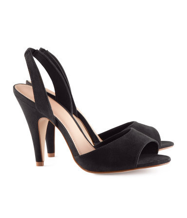 Slingbacks - predominant colour: black; occasions: evening, work, occasion; material: fabric; heel height: high; heel: stiletto; toe: open toe/peeptoe; style: slingbacks; finish: plain; pattern: plain; season: s/s 2013