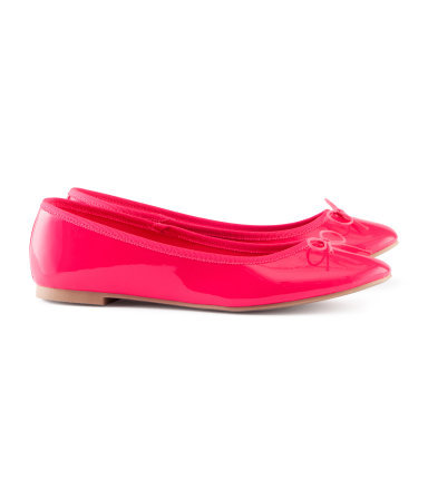 Ballet Pumps - predominant colour: hot pink; occasions: casual, evening, work, holiday; material: faux leather; heel height: flat; toe: round toe; style: ballerinas / pumps; trends: fluorescent; finish: patent; pattern: plain; embellishment: bow; season: s/s 2013