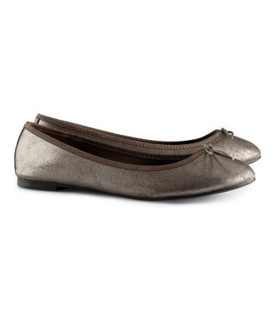 Ballet Pumps - predominant colour: charcoal; occasions: casual, evening, work, holiday; material: faux leather; heel height: flat; toe: round toe; style: ballerinas / pumps; trends: metallics; finish: metallic; pattern: plain; embellishment: bow; season: s/s 2013