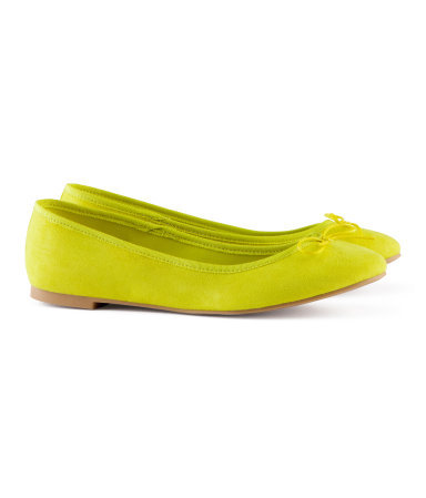 Ballet Pumps - predominant colour: lime; occasions: casual, evening, work, holiday; material: fabric; heel height: flat; toe: round toe; style: ballerinas / pumps; trends: fluorescent; finish: fluorescent; pattern: plain; embellishment: bow; season: s/s 2013