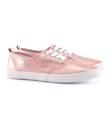 Shoes - secondary colour: white; predominant colour: blush; occasions: casual, holiday; material: fabric; heel height: flat; toe: round toe; style: trainers; trends: metallics; finish: metallic; pattern: plain; season: s/s 2013