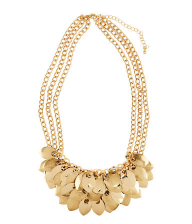 Necklace - predominant colour: gold; occasions: casual, evening, work, occasion, holiday; length: mid; size: large/oversized; material: chain/metal; finish: metallic; embellishment: chain/metal; style: bib/statement; season: s/s 2013