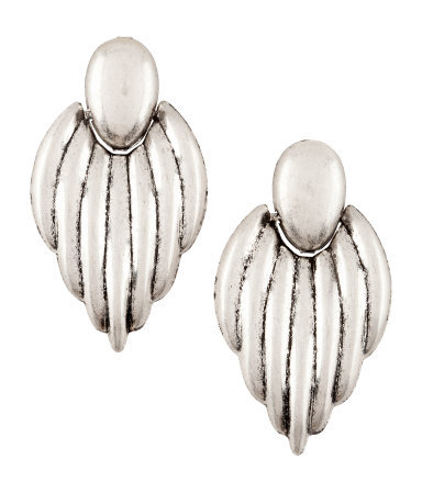 Earrings - predominant colour: silver; occasions: evening, work, occasion, holiday; style: drop; length: long; size: large/oversized; material: chain/metal; fastening: pierced; trends: metallics; finish: plain; season: s/s 2013