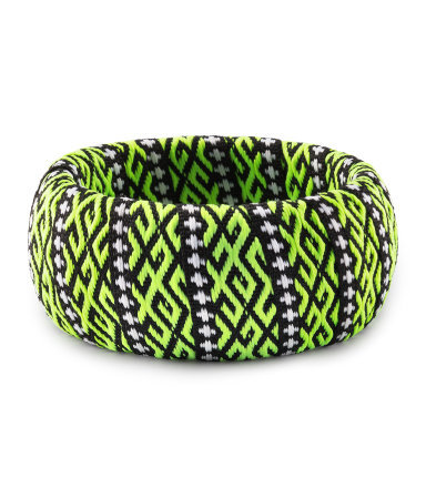 Bracelet - predominant colour: lime; secondary colour: black; occasions: casual, evening, work, occasion, holiday; style: bangle/standard; size: large/oversized; material: fabric/cotton; trends: fluorescent; finish: fluorescent; embellishment: beading; season: s/s 2013