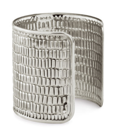 Bracelet - predominant colour: silver; occasions: casual, evening, work, occasion, holiday; style: cuff; size: large/oversized; material: chain/metal; trends: metallics; finish: metallic; embellishment: chain/metal; season: s/s 2013