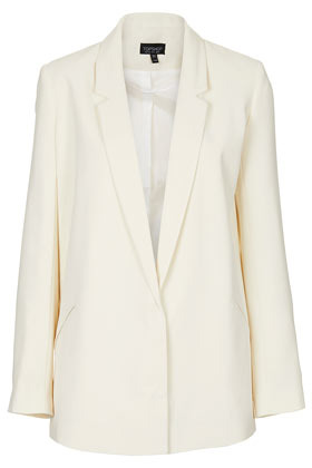 Tailored Longline Blazer - pattern: plain; style: single breasted blazer; length: below the bottom; collar: standard lapel/rever collar; predominant colour: ivory/cream; occasions: evening, work, occasion; fit: tailored/fitted; fibres: polyester/polyamide - 100%; sleeve length: long sleeve; sleeve style: standard; trends: tuxedo; collar break: low/open; pattern type: fabric; texture group: woven light midweight; season: s/s 2013