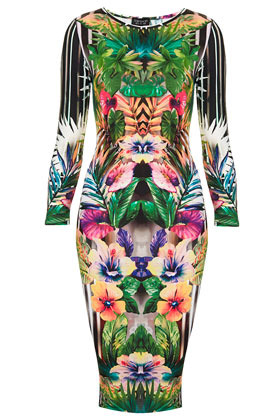 Botanical Floral Bodycon Dress - neckline: round neck; fit: tight; style: bodycon; secondary colour: emerald green; occasions: evening, occasion; length: on the knee; fibres: polyester/polyamide - stretch; predominant colour: multicoloured; sleeve length: 3/4 length; sleeve style: standard; texture group: jersey - clingy; pattern type: fabric; pattern size: big & busy; pattern: patterned/print; season: s/s 2013; multicoloured: multicoloured