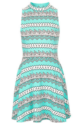 Zig Zag Aztec Tunic - style: tunic; length: mini; sleeve style: sleeveless; neckline: high neck; waist detail: fitted waist; secondary colour: white; predominant colour: turquoise; occasions: casual, evening, holiday; fit: fitted at waist & bust; fibres: cotton - stretch; hip detail: soft pleats at hip/draping at hip/flared at hip; sleeve length: sleeveless; trends: statement prints; pattern type: fabric; pattern size: standard; pattern: patterned/print; texture group: other - stretchy; season: s/s 2013