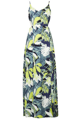 Leaf Split Hem Maxi Dress - neckline: v-neck; sleeve style: spaghetti straps; fit: empire; style: maxi dress; predominant colour: royal blue; secondary colour: primrose yellow; occasions: casual, holiday; length: floor length; fibres: polyester/polyamide - 100%; waist detail: cut out detail; sleeve length: sleeveless; texture group: cotton feel fabrics; trends: high impact florals; pattern type: fabric; pattern size: big & busy; pattern: patterned/print; season: s/s 2013