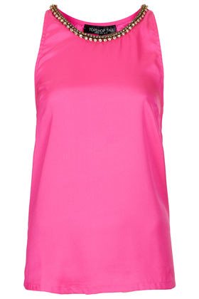 Tall Chain High Neck Cami - neckline: round neck; pattern: plain; sleeve style: sleeveless; predominant colour: pink; occasions: casual, evening, holiday; length: standard; style: top; fibres: polyester/polyamide - 100%; fit: straight cut; sleeve length: sleeveless; texture group: silky - light; pattern type: fabric; embellishment: chain/metal; season: s/s 2013; wardrobe: highlight; embellishment location: neck