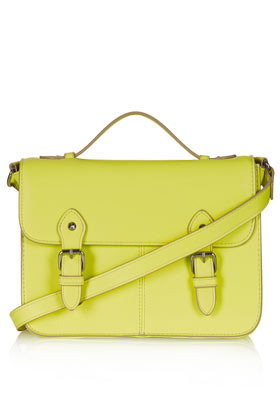 Edge Paint Satchel - predominant colour: lime; occasions: casual, work, holiday; type of pattern: standard; style: satchel; length: across body/long; size: small; material: faux leather; pattern: plain; trends: fluorescent; finish: fluorescent; embellishment: buckles; season: s/s 2013