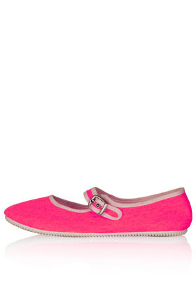 Tippi Mary Jane Canvas Pumps - predominant colour: hot pink; occasions: casual, holiday; material: fabric; heel height: flat; ankle detail: ankle strap; toe: round toe; style: ballerinas / pumps; trends: fluorescent; finish: plain; pattern: plain; season: s/s 2013