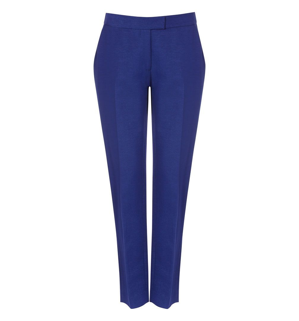 Precious Trouser, Blue - pattern: plain; pocket detail: pockets at the sides; waist: mid/regular rise; predominant colour: royal blue; occasions: casual, evening, work; length: ankle length; fit: straight leg; pattern type: fabric; texture group: woven light midweight; style: standard; fibres: viscose/rayon - mix; season: s/s 2013