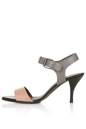 Nigella Two Part Mid Sandals - secondary colour: blush; predominant colour: silver; occasions: casual, creative work; material: leather; heel height: mid; ankle detail: ankle strap; heel: stiletto; toe: open toe/peeptoe; style: standard; finish: metallic; pattern: colourblock; season: s/s 2013