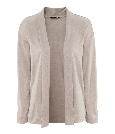 Linen Cardigan - pattern: plain; neckline: shawl; length: below the bottom; bust detail: ruching/gathering/draping/layers/pintuck pleats at bust; style: open front; predominant colour: stone; occasions: casual, evening, work, holiday; fibres: linen - 100%; fit: loose; sleeve length: long sleeve; sleeve style: standard; texture group: knits/crochet; pattern type: knitted - fine stitch; season: s/s 2013