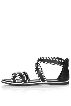 Figaro3 Whipstitch Sandals - secondary colour: white; predominant colour: black; occasions: casual, holiday; material: leather; heel height: flat; embellishment: zips; ankle detail: ankle strap; heel: standard; toe: open toe/peeptoe; style: strappy; finish: plain; pattern: colourblock; season: s/s 2013; trends: monochrome